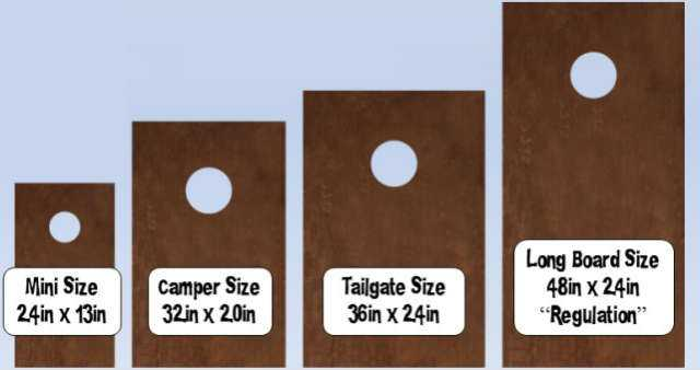 Cornhole board size options chart