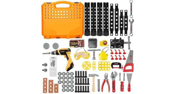 100 Pieces Kids Construction Toy Workbench Parts