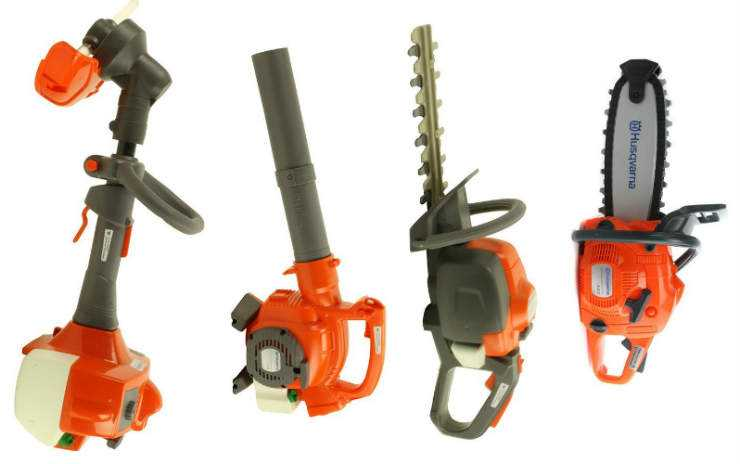 Husqvarna Kids Toy Play Set with chainsaw, hedge trimmer, leaf blower and weed eater