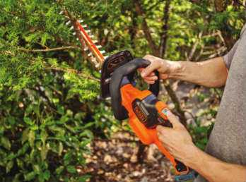 BLACK+DECKER LHT321 Cordless Hedge Trimmer in action