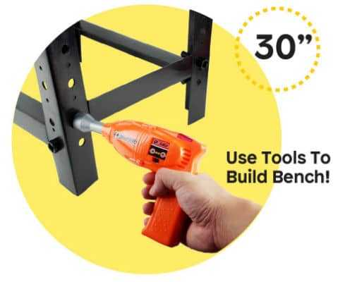 Construction Workbench and Toy Tools Set Parts